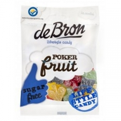 Ovocné cukríky Poker bez cukru DE BRON