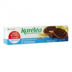 3 zrnné krehké sušienky poliate čiernou čokoládou bez pridaného cukru Karéléa