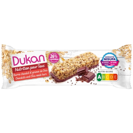 Tyčinka Dukan® s Chia semienkami poliata čokoládou